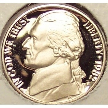 Primary image for 1982-S Jefferson Nickel PROOF DCAM PF65 #0349