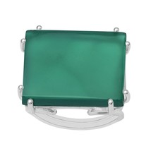 Rectangular Split Shank Wired Prongs Green Onyx Handmade Ring 925 Silver... - $26.32+