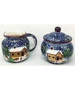 Holly Mountain Lodge Hand Pained Ceramic Sugar and Creamer Set #079297 - $37.99