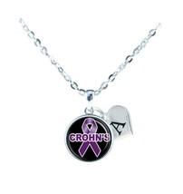 Custom Crohn's Disease Awareness Purple Silver Necklace Jewelry Initial Family - $13.94