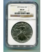 1997 AMERICAN SILVER EAGLE NGC MS 69 BROWN LABEL PREMIUM QUALITY MS69 PQ - $72.95