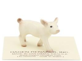 Hagen Renaker Miniature Farm Pig White Piglet Walking image 1