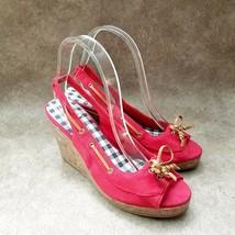 "Dexter Womens  83488 Sz 8 M Red Peep Toe Slingback 4"" Cork Wedge Sandals - $26.99"