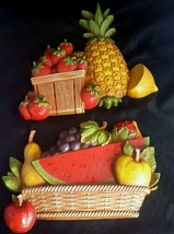 MCM Homco Farmhouse Kitchen Wall Plaques Fruit Baskets Pineapple Strawbe... - $22.91