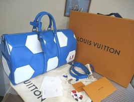 LOUIS VUITTON Keepall Bandouliere 50 Bag Blue Travel Hand Shoulder World Cup New - $5,484.60