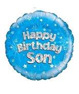 "Oaktree UK Happy Birthday Son Blue Holographic Foil Balloon 45cm (18"") - $5.99"