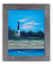 Pensacola FL Lighthouse Original canvas  framed acrylic painting Nautica... - $249.00
