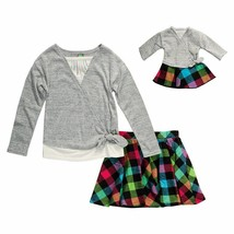 Dollie Me Girl 4-14 and Doll Matching Plaid Skirt Tie Top Outfit America... - $29.99