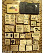 Rubber Stamp LOT Stampin Up + Greeting Card Verses 37 Celebration Flower... - $26.69