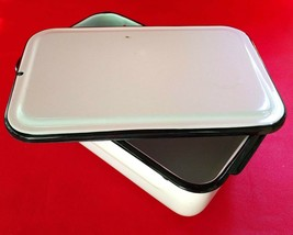 "Enamelware Medical Instrument Tray with Lid White w/ Black Trim 12½"" x 8... - $32.95"