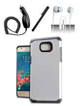 Samsung Galaxy J7 V / J7 (2017) / J727 Silver Hybrid Slim Dual Layer Case Cover  - $12.99