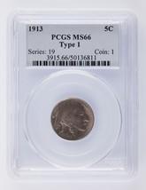 1913 5C Buffalo Nickle Type 1 Graded by PCGS as MS-66! Great Strike! - $296.99