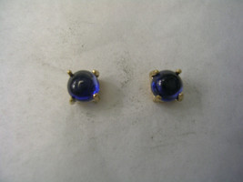 SAPPHIRE CABOCHON EARRINGS IN 14KT GOLD 4MM ROUND - $59.35