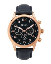 Fossil BQ2129 Mens Chronograph Rose Gold tone Navy Blue Leather Band Watch NEW! - $95.99