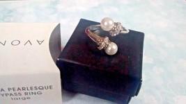 Avon ELENA Pearlesque Bypass Ring white pearls & crystals silver-tone  Sz 10 NIB - $9.85