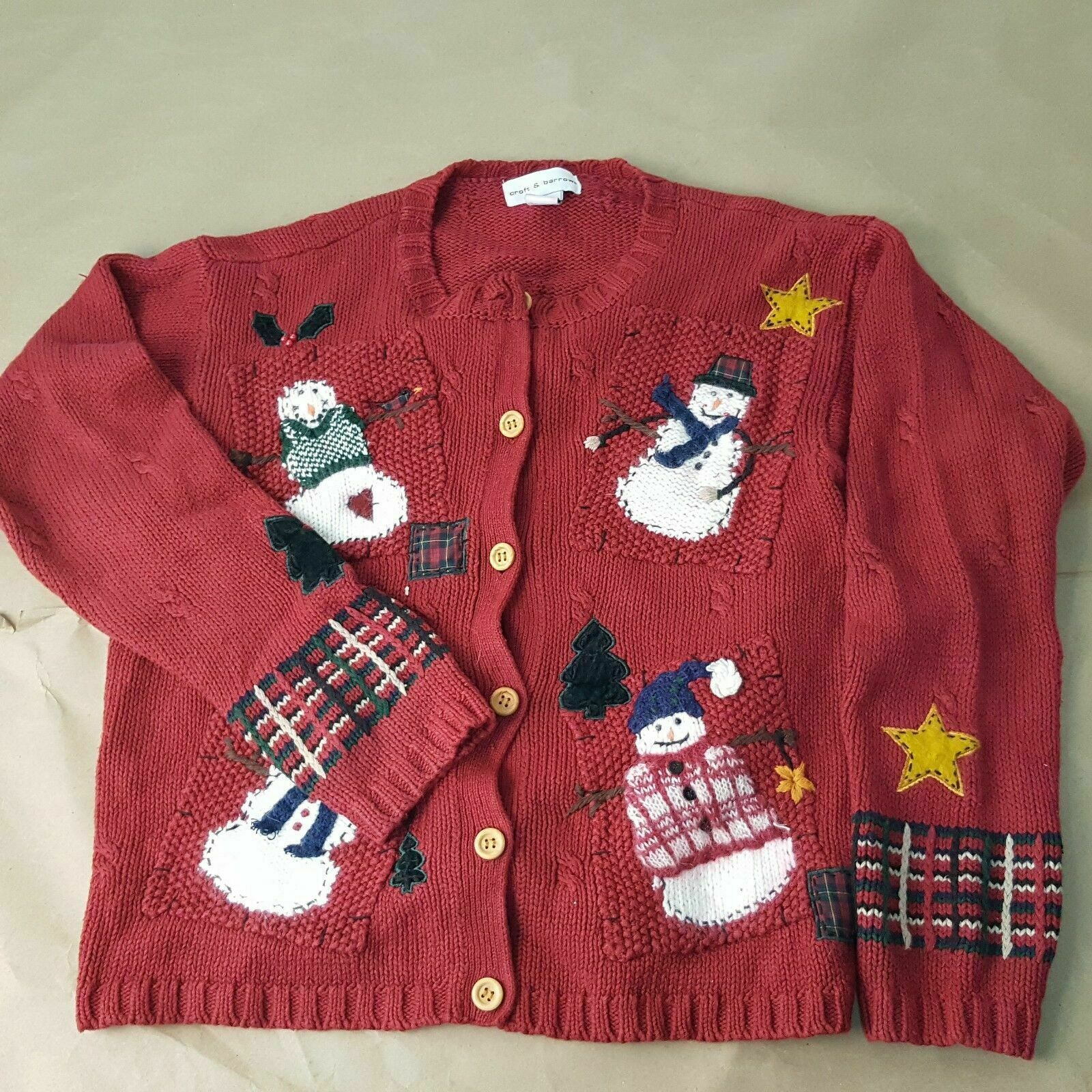 Primary image for Women's Croft & Barrow Size Medium Ugly Christmas Sweater Snowman Wooden Buttons