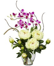Nearly Natural Peony & Orchid Artificial Flower Arrangement NEW - $79.99