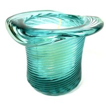 Vintage 1981 Avon Swirled Blue Glass Magic Hat Candle w/ Fresh Aroma Sce... - $13.98