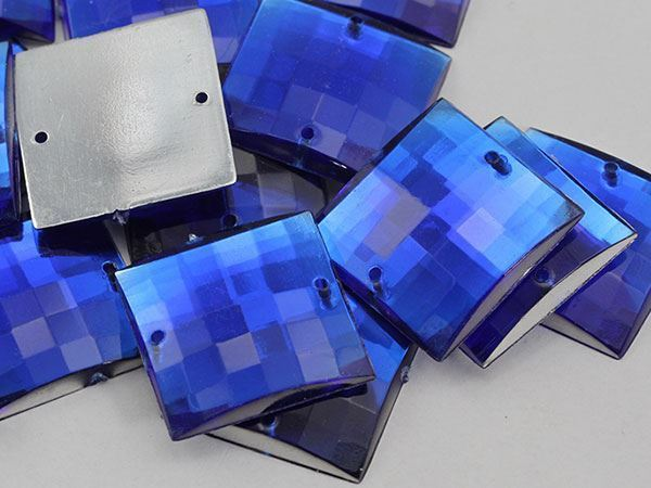 16mm Blue Sapphire CH09 Square Flat Back Sew On Gems For Craft 40 PCS