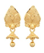 Gold Plated Earrings 2.5cm Drop Bollywood Indian Traditional Asian Jhumk... - $8.42