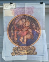 Madonna of the Chair Vintage Needlepoint Tapestry Canvas by Tina 18 x 24 - $24.00