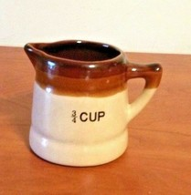 Vintage Old Stoneware Crock Pottery 3/4 Measuring Cup Brown Glaze Pitche... - $7.92