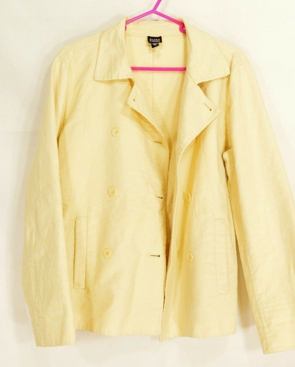 Eileen Fisher jacket SZ S yellow cotton blend stretch double breasted tailored