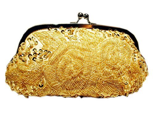 Dazzling Gold Clutch Studded Beading Prom Bag Party Clutch