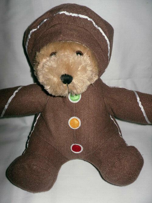 GINGERBREAD MAN BROWN TEDDY BEAR SUGARLOAF 2007 CHRISTMAS PLUSH STUFFED TOY