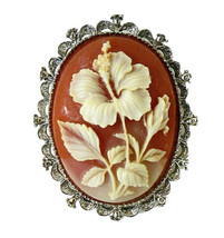 Vintage Signed GERRYS Floral Hibiscus Flower Cameo Brooch Pin Pendant Co... - $14.00