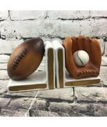 Vintage Lefton Porcelain Bookends #H067 Sports Baseball Football Decorat... - $29.69