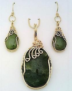 Jade gold wire wrap pendant earrings set 6
