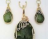 Jade gold wire wrap pendant earrings set 6 thumb155 crop