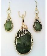 Jade Gold Wire Wrap Pendant Earrings Set 6 - £45.88 GBP
