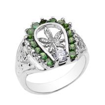 Sterlingsilber Marihuana Blatt Herren Grün CZ Ring - $64.98