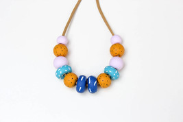 Beads multicolor statement necklace, polymer clay blue necklace - $31.00