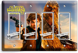 A Star Wars Han Solo Story Chewbacca Falcon Pilot 4 Gang Gfci Light Switch Plate - $19.79
