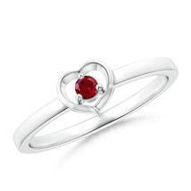 "Round Natural Garnet Open Heart Ring Silver/14k Gold Size 3-13 ""Angara"" - $214.62+"