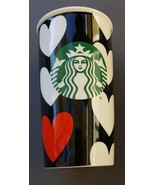 Starbucks 12oz Mug 2015 Travel Tumbler White Black One Red Heart Wedding... - €30,48 EUR