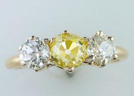 Vintage Antique Victorian GIA 2.14ct Fancy Yellow Diamond Gold Engagemen... - $4,851.00