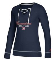 NWT Women's Adidas Montreal Canadiens L/S Skate Through Lace-up Shirt Sz... - $29.69