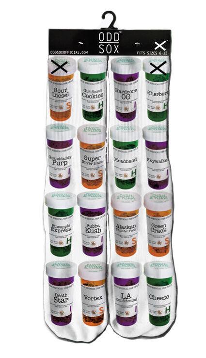 Odd Sox Médico Marihuana Medicina Botella Hierba Dispensary Crew Calcetines 6-13