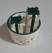 Pfaltzgraff Winterberry Holiday Dip Mix Bowl & Salt Pepper Present Shape... - $19.79