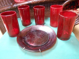 Great ARTLAND Ruby Red  Set of 5 HIBALL Glasses & FREE Luncheon Plate - $27.43