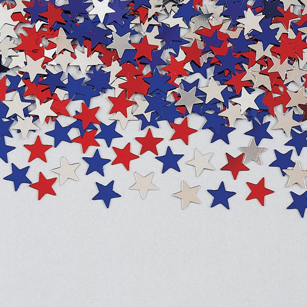 Confetti Stars Red/Blue/Silver Metallic/Case of 12