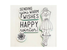 Prima Marketing Mixed Media Doll Stamps, Happy Winter Rubber Stamp Set