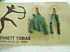 Bennett Tobias Handcrafted Earrings Brass Verdigris Jeans and Jacket Pos... - $19.75