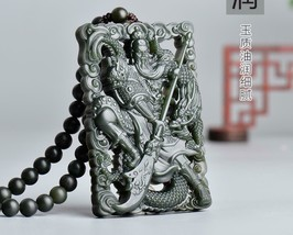 Hand carved natural green jade zen guan yu amulet chinese guan yu beaded pendant - $39.59