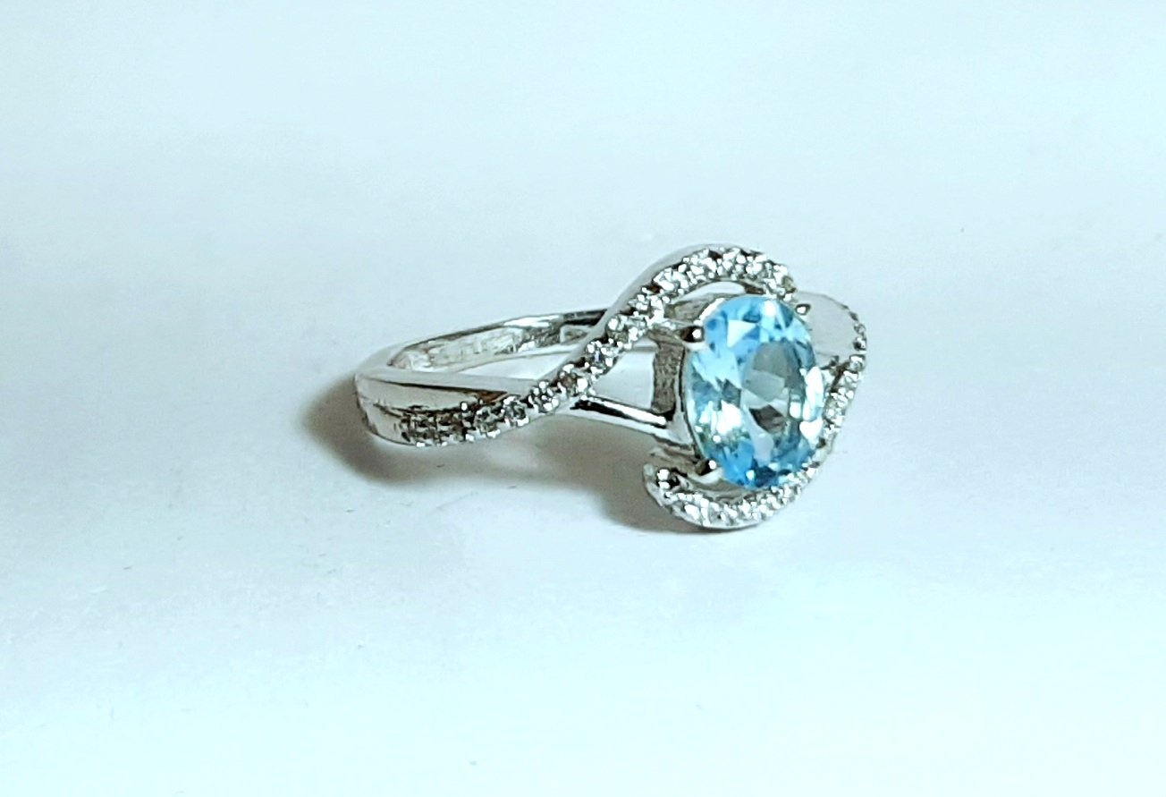 925 Sterling Silver Natural Aquamarine And Cz Gemstone Artistic Design Handmade  image 3