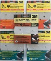 """3M 9145NA 5"""" 220 Grit 8 Hole Hook & Loop Sanding Discs 5 Packs of 5 USA - $7.43"""